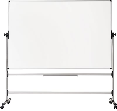 MasterVision® Earth-it Silver Easy-Clean Reversible Mobile Presentation Easel, Silver, 80