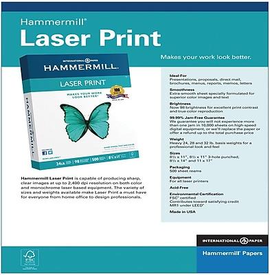 "International Paper Laser Print Paper, 8.5"" x 11"", 28 lbs., 4000 Sheets/Carton (12553-4)"