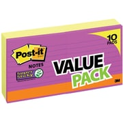 "Post-it® Super Sticky Notes, 4"" x 4"", Canary Yellow, Lined, 10 Pads/Pack (675-8+2YWB)"