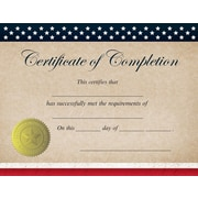 "Great Papers! Patriotic Completion Certificate, 8.5"" x 11"", 25 count (2015075)"