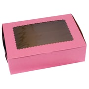 "Bags & Bows® 14"" x 10"" x 4"" 12 Cup Windowed Standard Cupcake Boxes, Pink, 100/Pack"