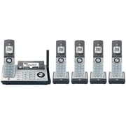 AT&T CLP99586 DECT 6.0 Cordless Phone with Bluetooth Connect to Cell, Answering System with Dual Caller ID, Silver, 5 handsets