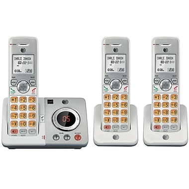 AT&T EL52306 DECT 6.0 Expandable Cordless Phone with Answering System and Caller ID, 3 Handsets, Silver/Black