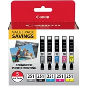 Canon CLI-251 Black & C/M/Y/GY Color Ink Cartridges (6513B011), Combo 5/Pack