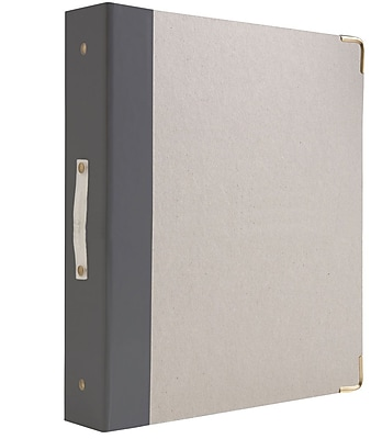 """russell + hazel Signature Binder, Charcoal, 1.5"""" Three-Ring, Round Ring, Grey, (18771)"""