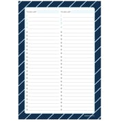 "Kahootie Co™  Two Category To Do List  Notepad, A5 8.3""x 5.8"", 50 sheets per pad, Navy Stripe (TCNPNS)"