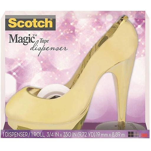"Scotch® Magic™ Tape with Desktop Tape Dispenser, 3/4"" x 9.72 yds., Gold (C30-SHOE-GLD)"