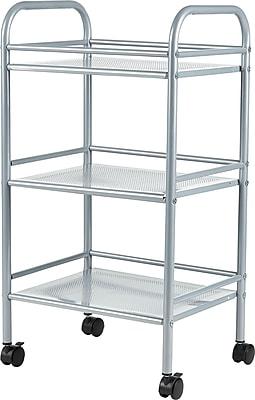 Staples® 3-Shelf Rolling Cart, Silver