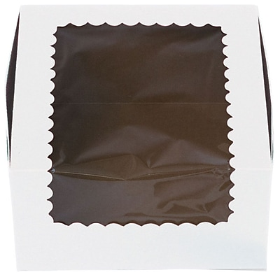 Bags & Bows® 4 Cup Windowed Standard Cupcake Boxes, White, 100/Pack