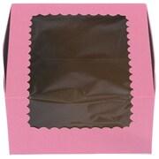 "Cardboard 4""H x 7""W x 7""L Windowed Standard Cupcake Boxes, Strawberry, 200/Pack"