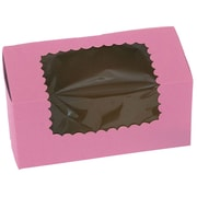 "8"" x 4"" x 4"" 2 Cup Windowed Standard Cupcake Boxes, Strawberry"