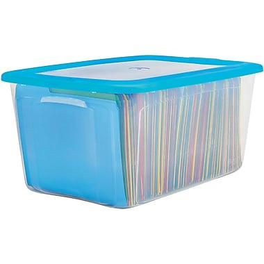 bella storage solution 54 quart plastic flat lid tote