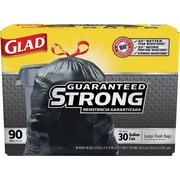 Glad® Drawstring Trash Bags, Black, 30 Gallon, 90 Bags/Box