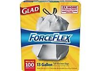 Glad® ForceFlex® Tall Kitchen Drawstring Trash Bags, 13 Gallon, 100 Bags/Box