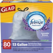 Glad® OdorShield® Tall Kitchen Drawstring Trash Bags, Lavender Breeze, 13 Gallon, 80 Bags/Box