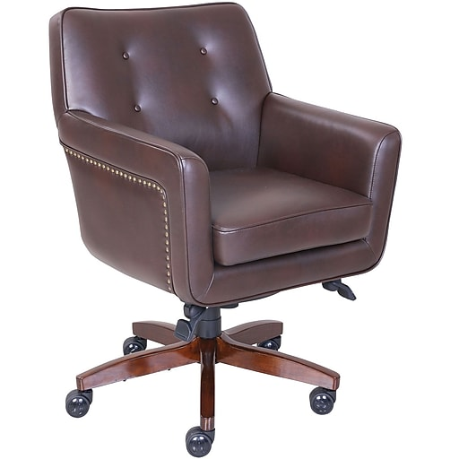 La Z Boy Kelsey Leather Computer And Desk Office Chair Fixed Arms Brown 47360