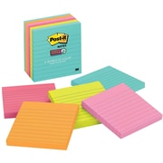 "Post-it® Super Sticky Notes, 4"" x 4"", Miami Collection, Lined, 6 Pads/Pack (675-6SSMIA)"
