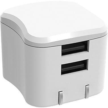 Staples Dual Device Rapid Wall Charger, 2.4 Amps, White