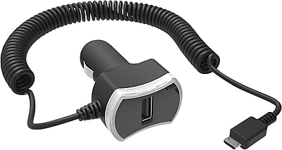 Staples 1-Port USB Car Charger with Built-In 6' Coiled Micro USB Charging Cable, Black
