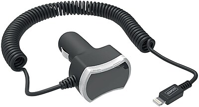 Staples Car Charger with Built-In 6' Coiled Lightning Cable, Black