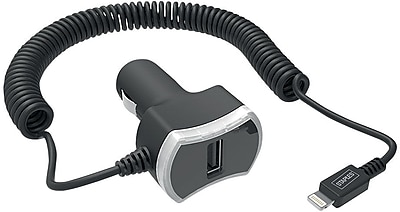 Staples 1-Port USB Car Charger with Built-In 6' Coiled Lightning Cable, Black