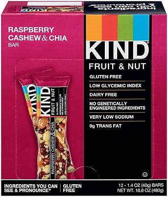 Kind Raspberry Cashew & Chia Bar, 1.4 Oz., 12/Ct
