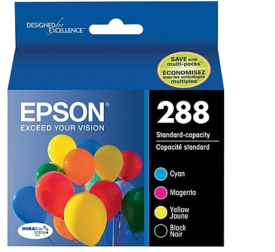 Epson T288 Black and Color CMY DuraBrite Ultra Ink Cartridges, (T288120-BCS) (4 cart per pack)