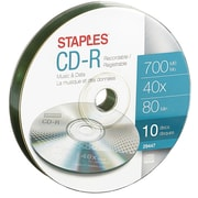 Staples 10PK CDR Music & Data 80Min 40X Puck