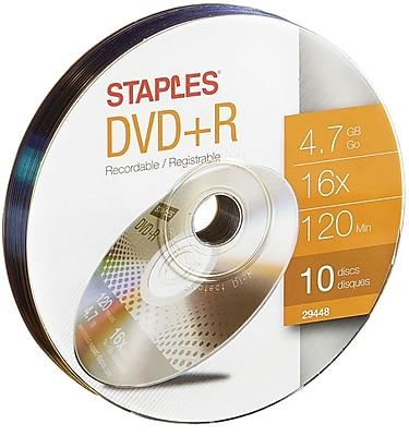 Staples 4.7GB 16X DVD+R Wrap, 10/Pack (29448)