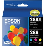 Epson® T288XL/T288 High Yield Black and Standard Color CMY DuraBrite Ultra Ink Cartridges, (T288120-BCS) Combo 4/Pack