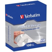 Verbatim CD and DVD Paper Sleeves, White, 100/Pack (49976)
