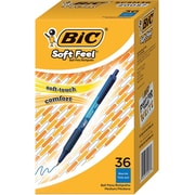 BIC® Soft Feel® Retractable Ballpoint Pens, Medium Point, Blue, 36/Pack