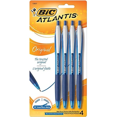 BIC AtlantisMD – Stylo à bille original, pointe escamotable, 1,0 mm, bleu, paq./4