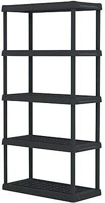 Shelves 5 Tier Heavy Duty Plastic Shelving Black Staples