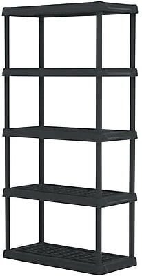 shelves 5 tier heavy duty plastic shelving black staples rh staples com Plastic Resin Adjustable Shelving adjustable plastic shelving walmart