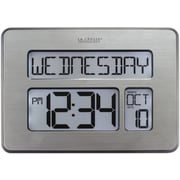 La Crosse Technology Backlight Atomic Full Calendar Clock with Extra Large Digits, Silver (C86279)