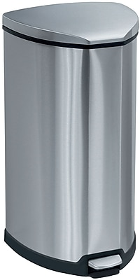 Safco® Step-On Waste Round Stainless Steel Receptacle, 10 Gallons, Chrome/Black, 27