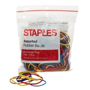 Staples® Economy Rubber Bands, Assorted Sizes and Colors