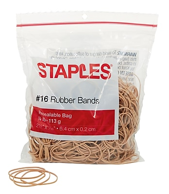 Staples® Economy Rubber Bands, Size #16, 1/4 lb.