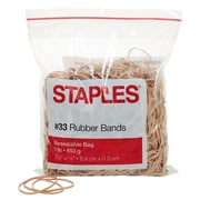Staples® Economy Rubber Bands, Size #33, 1 lb.