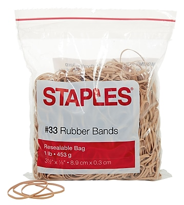 Staples® Economy Rubber Bands, Size #33, 1 lb.