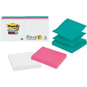 """Post-it® Pop-up Notes, Assorted Colors, 3"""" x 3"""", 6 Pads/Pack (R330-6SSWPG)"""