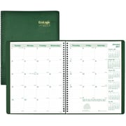 """Brownline® 2017 EcoLogix® Monthly Planner, 14 Months, 11"""" x 8-1/2"""" , Recycled, Soft Cover, Green (CB435W.GRN)"""