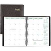 "Brownline® 2017 EcoLogix® Monthly Planner, 14 Months, 11"" x 8-1/2"", Recycled, Soft Cover, Black (CB435W.BLK)"