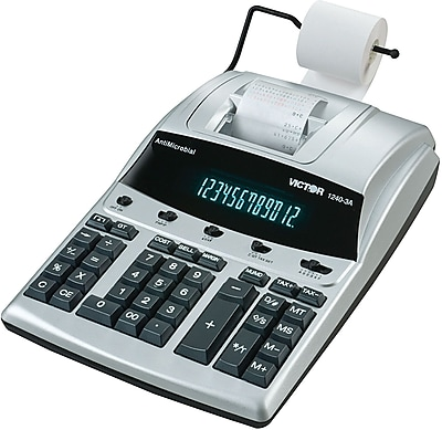 Victor® 1240-3A Heavy-Duty Commercial Printing Calculator, With Built-In Anti-Microbial Protection