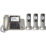 Panasonic KX-TGF353N Corded/Cordless Phone with Answering System and 3 Cordless Handsets, Champaigne Color