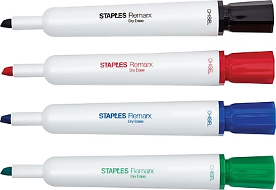 STAPLES® REMARX® DRY ERASE TANK MARKERS CHISEL ASSORTED 24PK (26936)