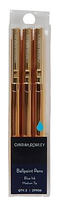 Cynthia Rowley, Ballpoint Retractable Pens, Gold, 3 Pack (29906)