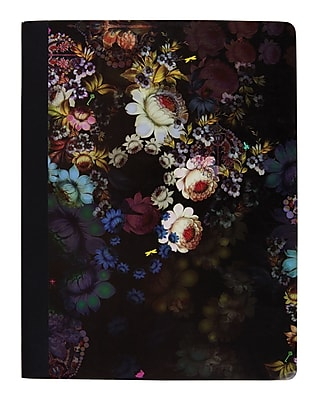 """Cynthia Rowley Composition Book, College Ruled, Cosmic Black Floral 9-3/4"""" x 7-1/2"""" (29898-US)"""