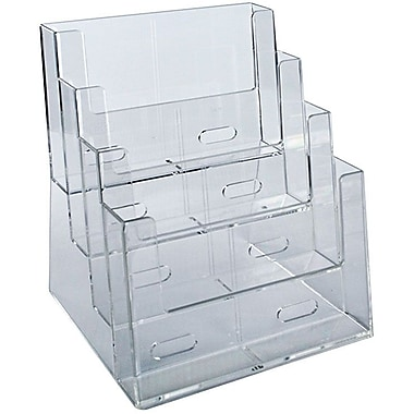 Azar Displays 4-Tier 4-Pocket Brochure Holder, Letter (252376)